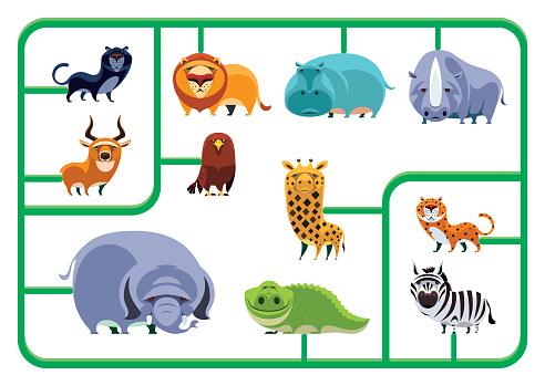 safari animals model kit