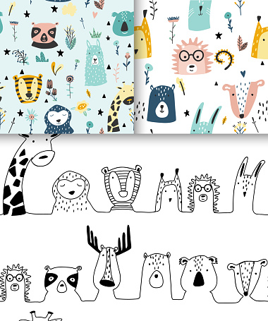 Safari baby animals seamless funny patterns collection.