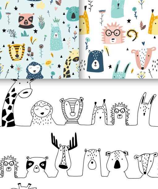 Safari baby animals seamless funny patterns collection. Safari baby animals seamless funny patterns collection. Set of vector kid print. Hand drawn doodle illustrations in scandinavian style. baby sloth stock illustrations