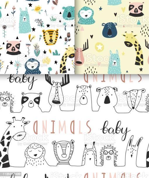 Safari baby animals seamless funny patterns collection vector id1135317499?b=1&k=6&m=1135317499&s=612x612&h=vcfg6 751wvf0mcncnwrcacuh oekeo0jmjf1b7ey c=