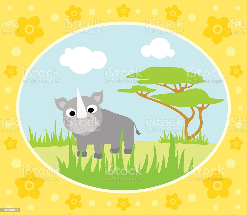 Safari background with rhino vector art illustration
