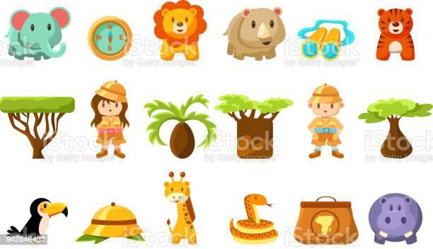 Safari big set kids and funny african animals birds trees vector vector id942546432?b=1&k=6&m=942546432&s=612x612&h=vfmwgfc316g imrlq4cuf3d3xvq2oqpyxg1hwwi b14=