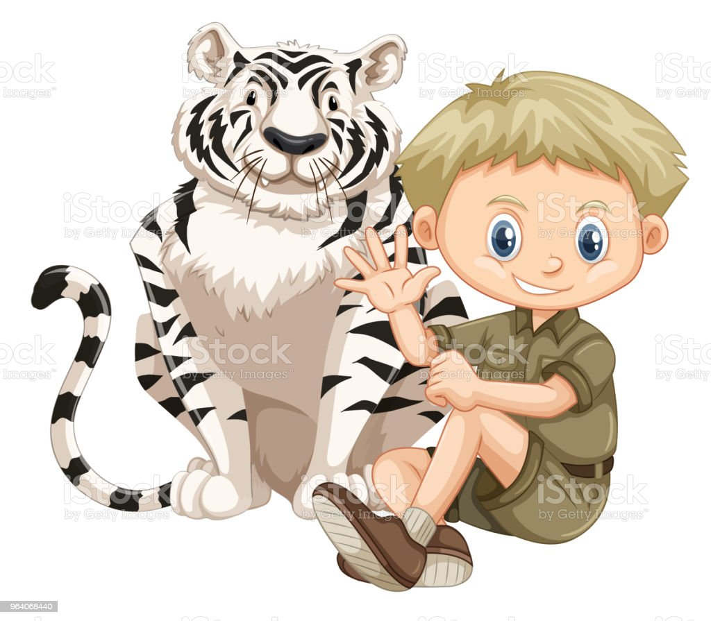 A Safari Boy and Tiger - Royalty-free Adventure stock vector