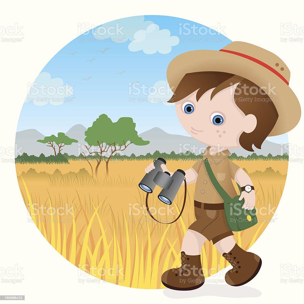 Safari boy vector art illustration