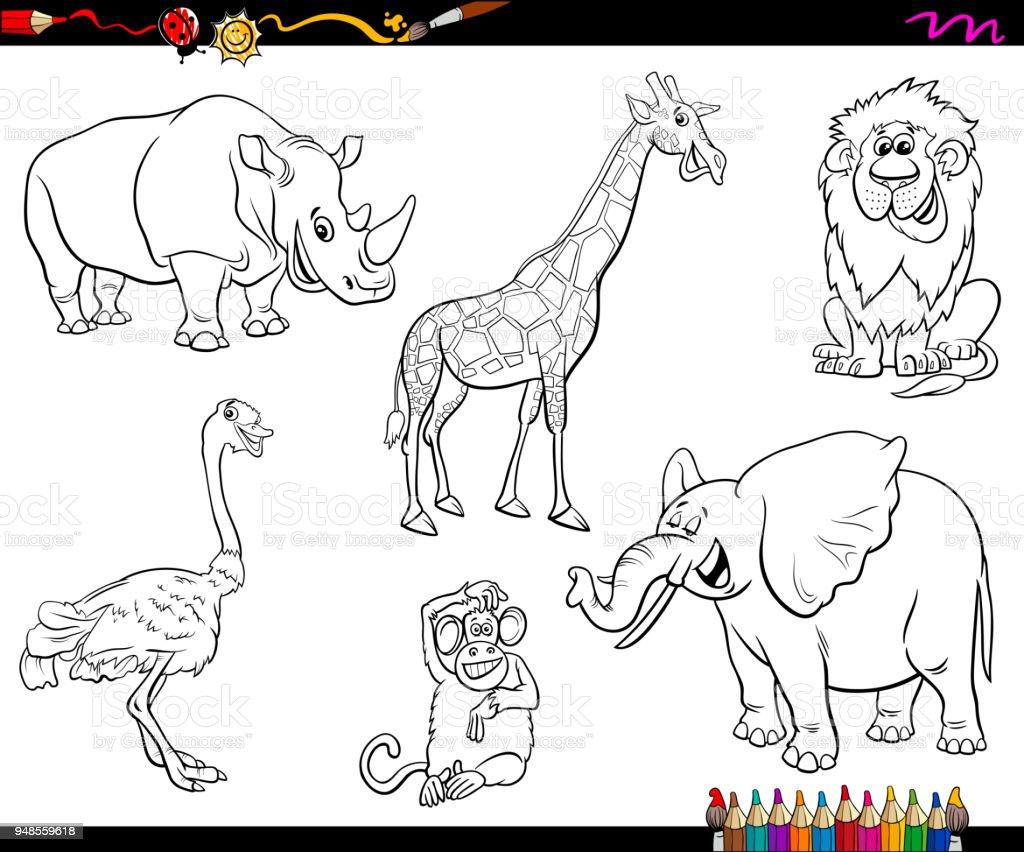 Safari Karikatür Hayvan Karakter Boyama Kitabı Stok Vektör Sanatı