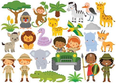 Safari clipart bundle – cute animals and kids
