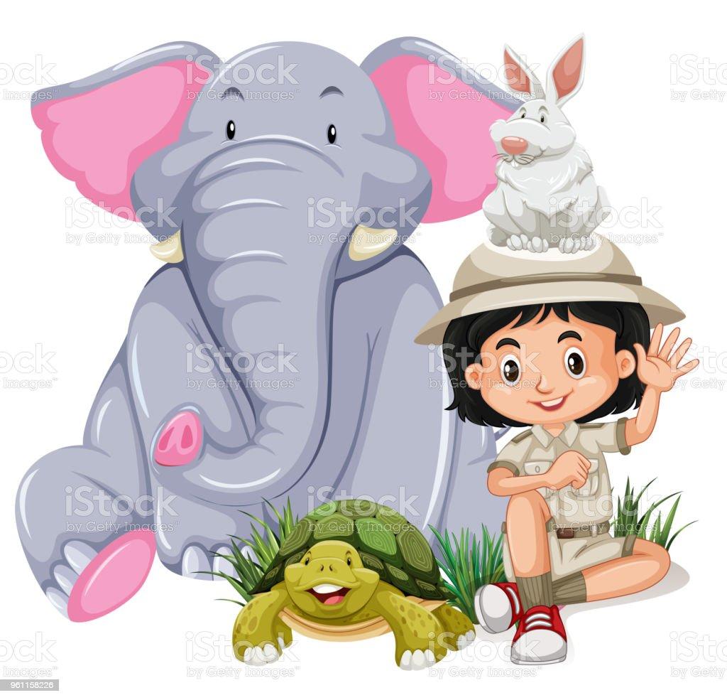 幸せな動物とサファリ女の子 - アナウサギのベクターアート素材や画像を