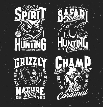 Safari hunting, sport team t-shirt vector print