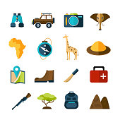 Safari expedition icons set with compass map camera car isolated vector illustration