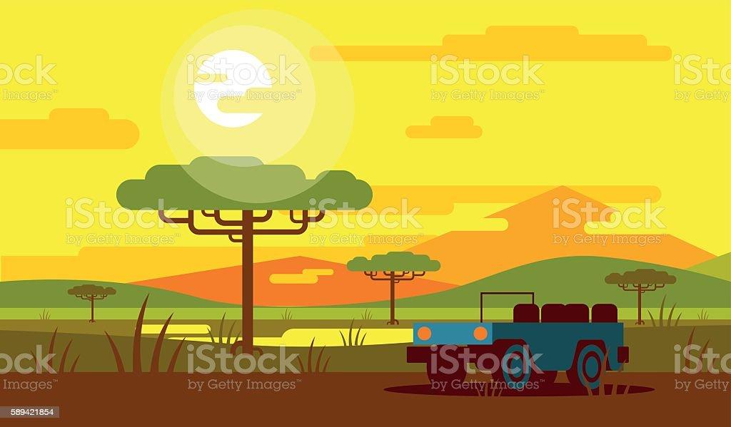 Safari in the Savannah vector art illustration