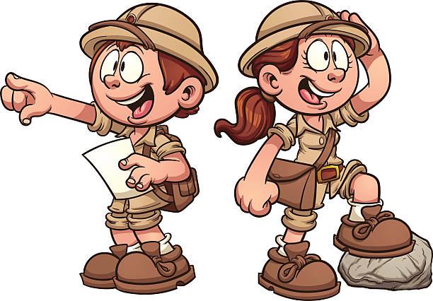 ilustrações, clipart, desenhos animados e ícones de safari para crianças - explorador