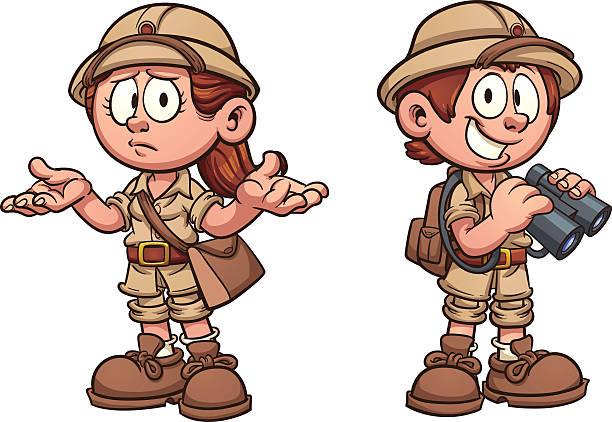 stockillustraties, clipart, cartoons en iconen met safari kids - safari