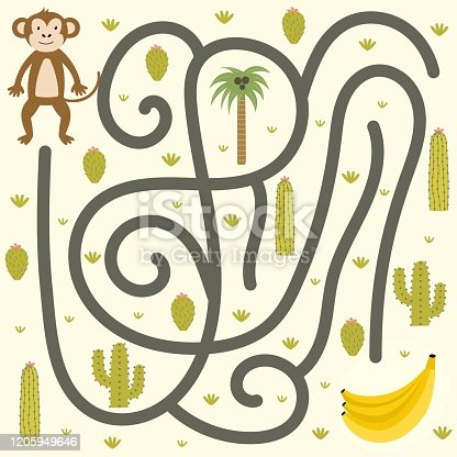 Safari maze game for kids. Help the monkey find the way to bananas. Jungle labyrinth activity for children. Vector illustration