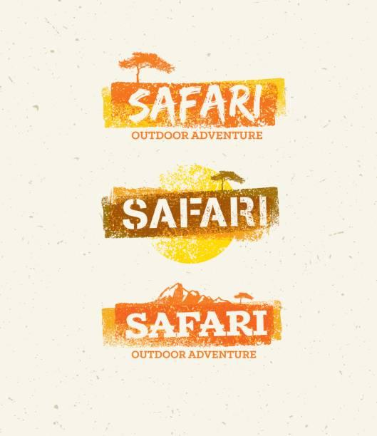 stockillustraties, clipart, cartoons en iconen met safari outdoor avontuur vector designelementen. natuurlijke grunge concept op gerecycleerd papier achtergrond - safari