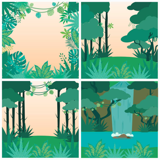 safari party poster with wild plants and palm leaf. jungle background - jungle stock illustrations