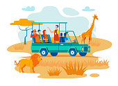 African Safari Travel Flat Vector Concept. Guide Talking with Travelers, Tourists Making Photos of Wild Animals from SUV in African Savanna Illustration. Exotic Tour in Tropical Country National Park