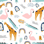 safari seamless pattern with flamingo, crocodile, giraffe, rat, and penguin. Cute drawing with pastel colors for kids fashion and baby textile print.