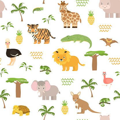 Safari summer animals seamless pattern. Cute vector chameleon, crocodile, lion, tiger, elephant, flamingo, giraffe, bat, kangaroo, ostrich, baobab, palm, plants