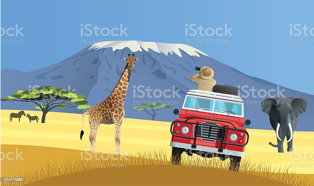 Safari truck in African savannah vector art illustration