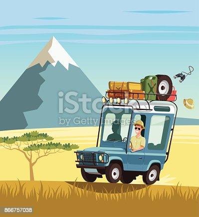 istock Safari truck in African savannah 866757038