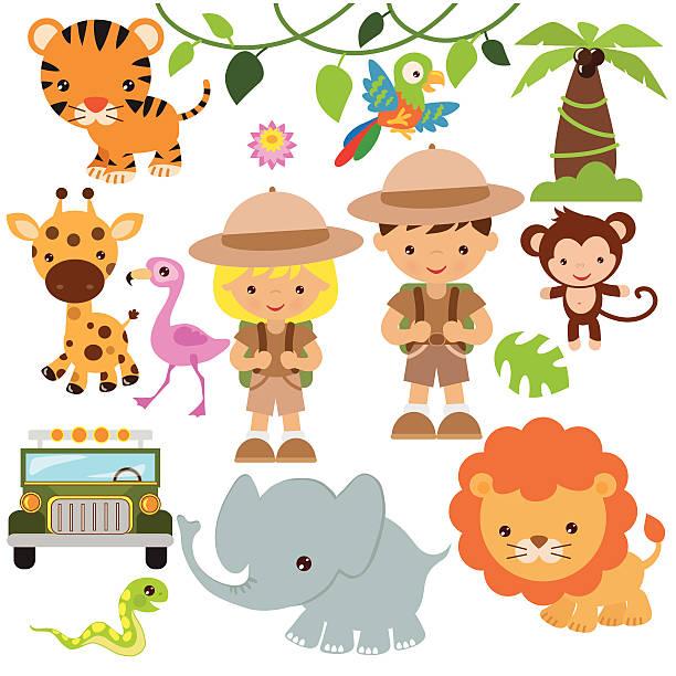 stockillustraties, clipart, cartoons en iconen met safari vector illustration - safari