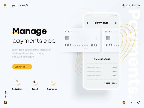 stockillustraties, clipart, cartoons en iconen met veilige en eenvoudige e-betalingen op smartphone met behulp van financiële apps - mobiele betaling