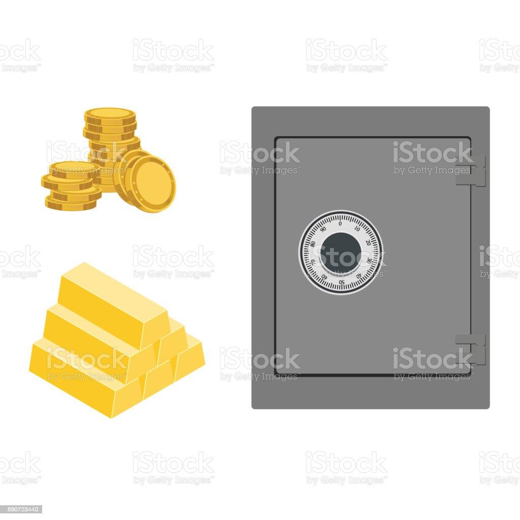 Safe and gold bar vector art illustration