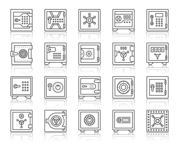 sichere bankzelle einfache schwarze linie ikon-vektor-set - safe stock-grafiken, -clipart, -cartoons und -symbole