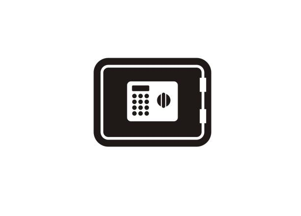 safe box simple icon simple icon of a safe box safety deposit box stock illustrations