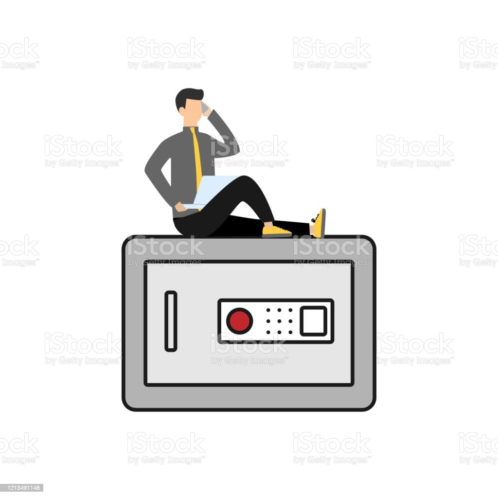 Safe Box With Password Code Lock Line Icon Linear Style Sign For Mobile Concept And Web Design Flat Cartoon Character Isolated On White Backgroundeps Stock Illustration Download Image Now Istock