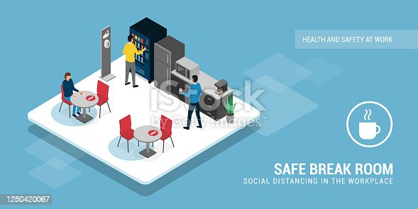 istock Safe break room and social distancing 1250420067