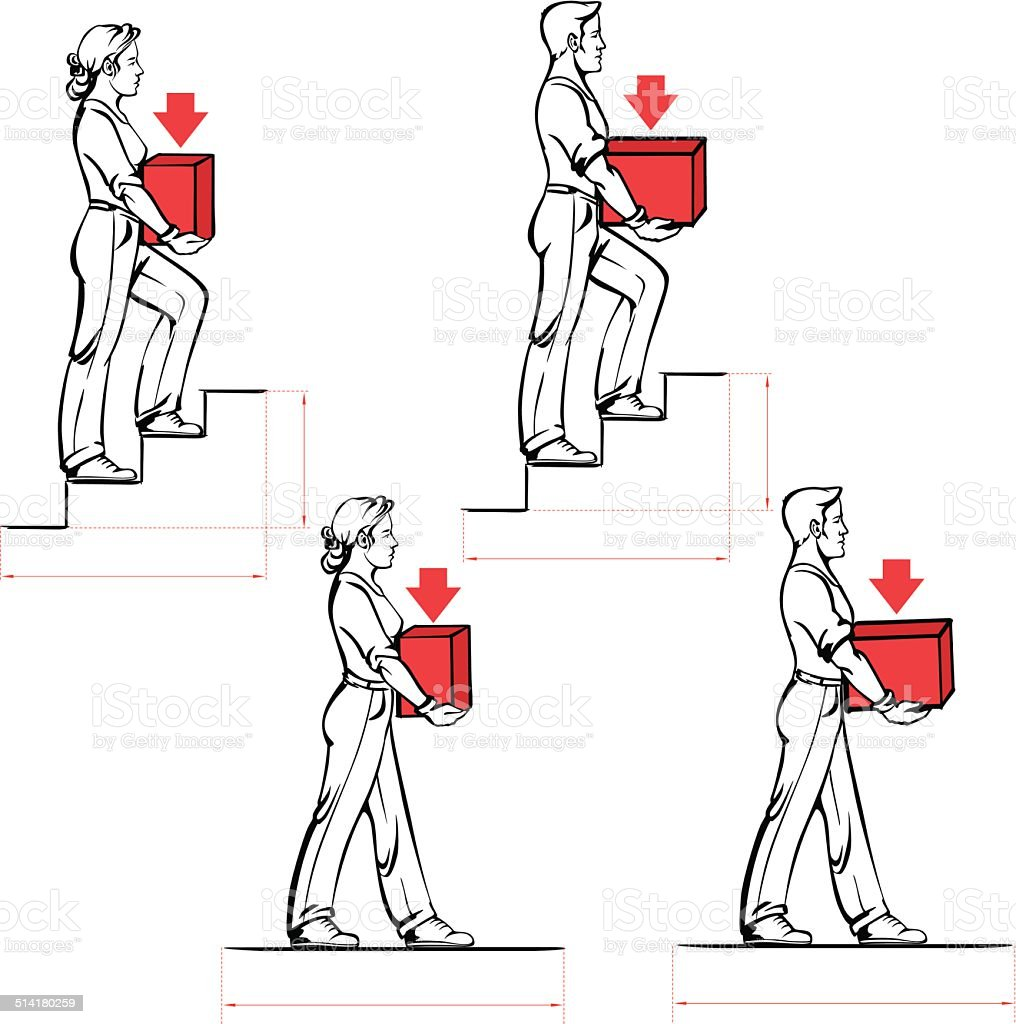 Safe carrying of heavy items: norms for men and women vector art illustration