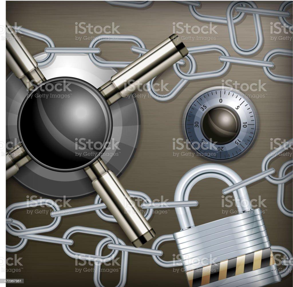 Safe combination lock & chain royalty-free stock vector art