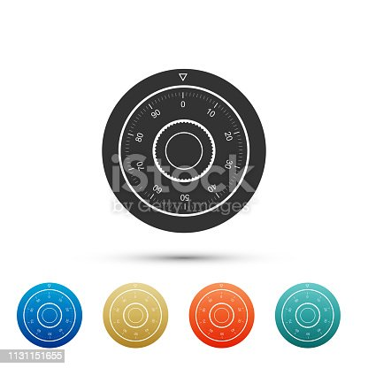 Safe combination lock wheel icon isolated on white background. Protection concept. Password sign. Set elements in color icons. Vector Illustration