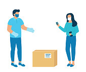 Safe contactless delivery of goods to buyer. Man courier delivered parcel box to woman customer . Coronavirus pandemic concept. Vector
