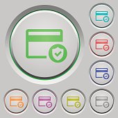 Safe credit card transaction color icons on sunk push buttons