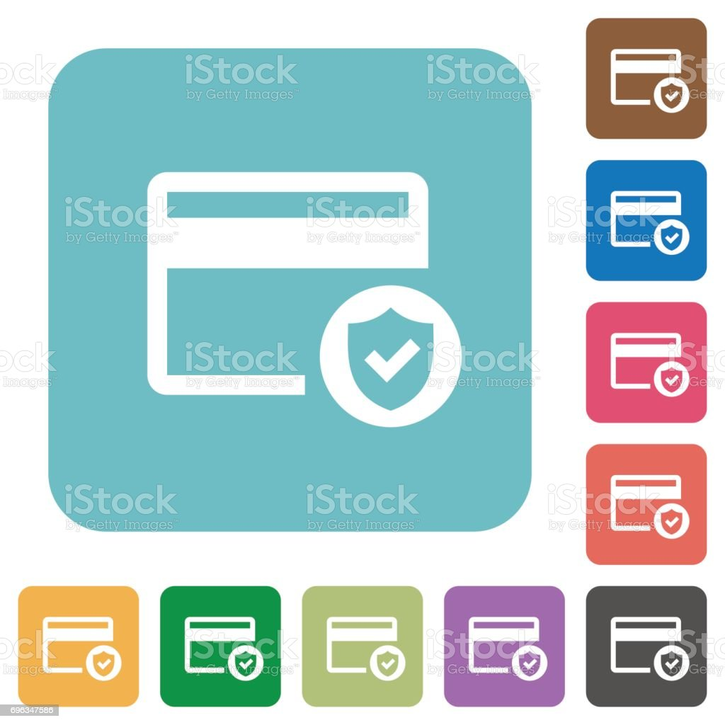 safe credit card transaction rounded square flat icons stock vector