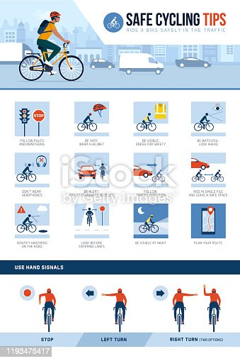 Safe cycling tips for riding safely in the city street an traffic and hand signals, vector infographic
