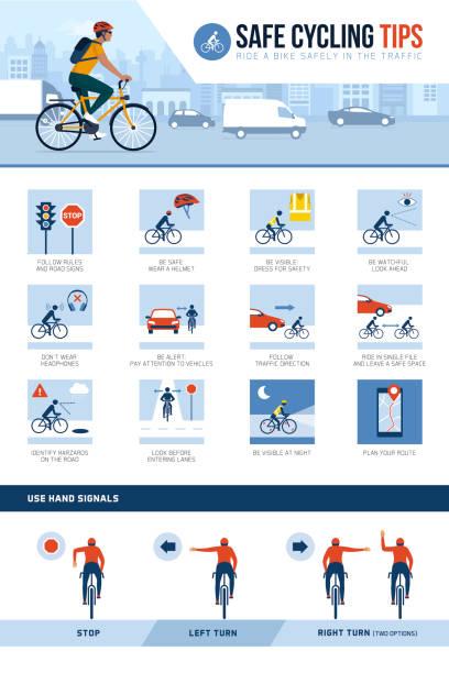 bildbanksillustrationer, clip art samt tecknat material och ikoner med säker cykling tips för ridning säkert i city street - cykla