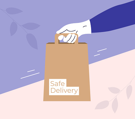 Safe delivery concept with bag in courier hand