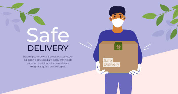 safe delivery concept with man in medical face mask - food delivery stock illustrations