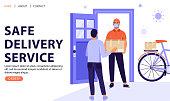 Safe delivery service concept. Man receive package from courier. Delivery parcel to door. Online order during quarantine. Vector web page banner illustration.
