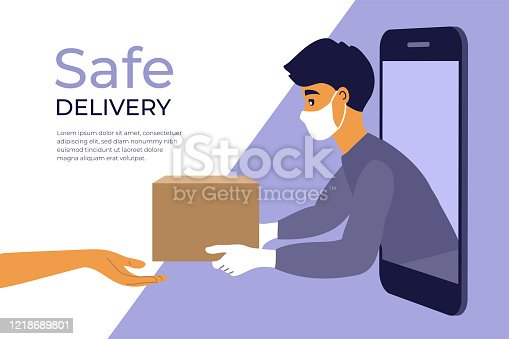 istock Safe delivery service concept 1218689801