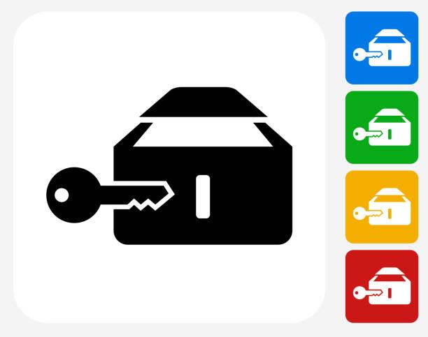 safe-symbol flache grafik design - schließfachsachen stock-grafiken, -clipart, -cartoons und -symbole