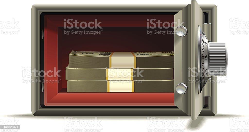 Safe deposit cash royalty-free stock vector art