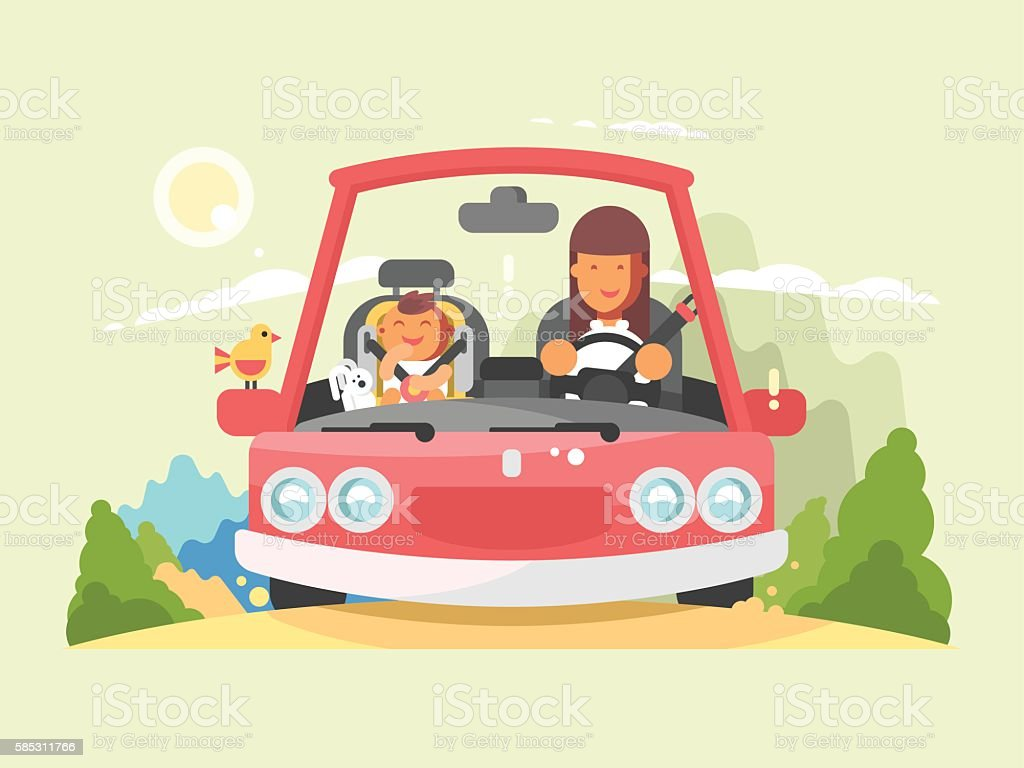 Safe driving in car – Vektorgrafik