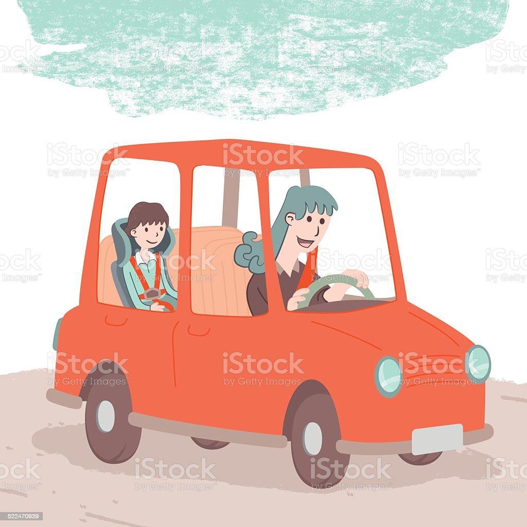 Safe driving vector art illustration
