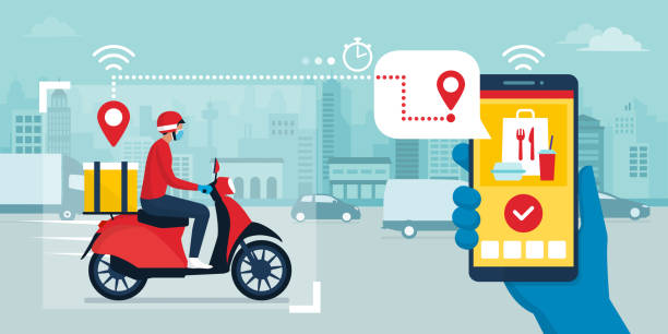 safe fast food delivery app and delivery man - food delivery stock illustrations