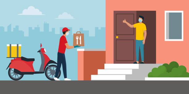safe food delivery at home during coronavirus covid-19 epidemic - food delivery stock illustrations