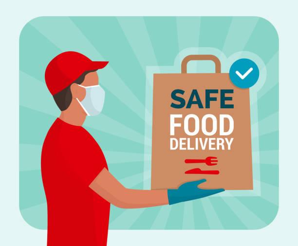 ilustrações de stock, clip art, desenhos animados e ícones de safe food delivery at home during coronavirus covid-19 epidemic - covid restaurant